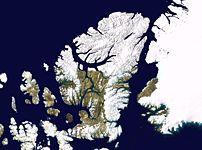 Satellite image montage showing Ellesmere Isla...