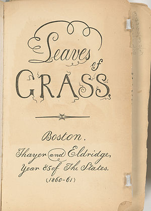 Leaves of Grass. Boston: Thayer and Eldridge, ...