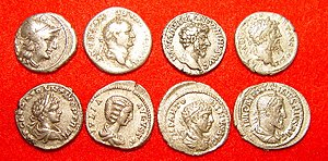 The Roman denarius was debased over time.