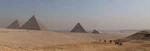Panorama of All pyramids of Giza.