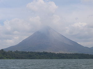 Arenal volcano seen from the lago Arenal