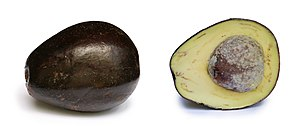 Avocado with its cross section. Pictured in Da...