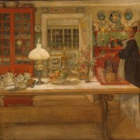 """Getting Ready for a Game"" by Carl Larsson"