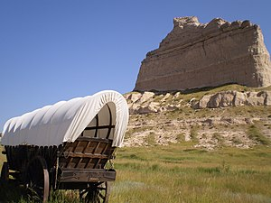English: Covered Wagon On Oregon Trail In Scot...