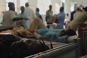 Patients rest after being treated in the emerg...