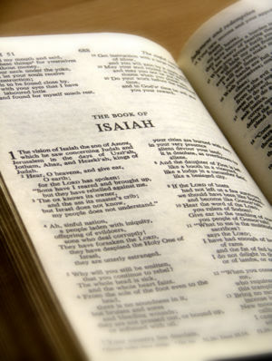 Photo of the Book of Isaiah page of the Bible