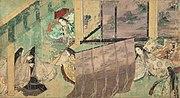 Una scena illustrata del Genji monogatari.
