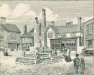 English: Sandbach Crosses c.1903, illustrated ...