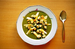Sorrel soup with egg and croutons