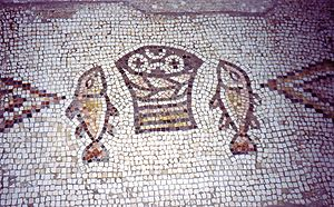 Mosaic in the Church of the Multiplication of ...