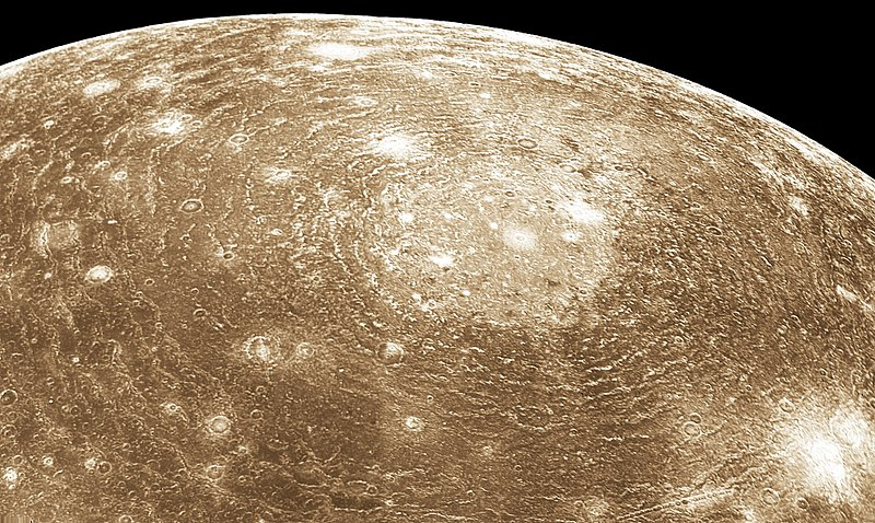 गुरू के चन्द्रमा केलीस्टो पर बना एक क्रेटर