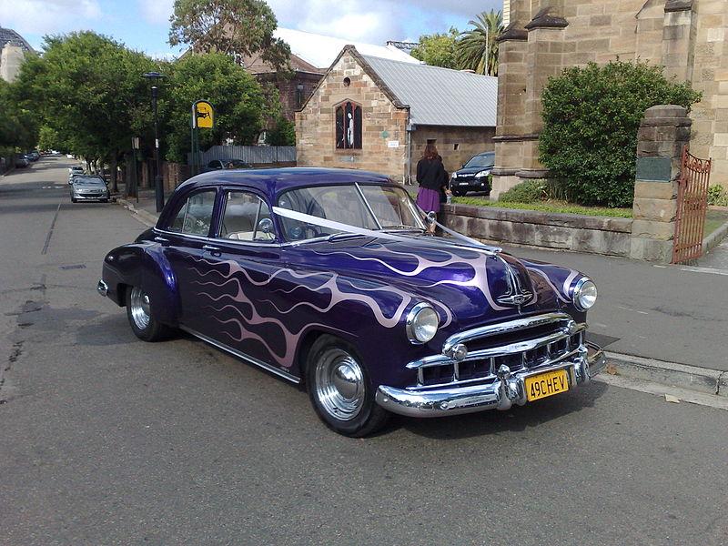 File:1949 Chevy Wedding Car At The Rocks, Sydney.jpg