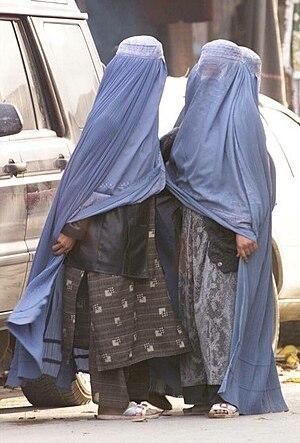 Women wearing burqas in the street