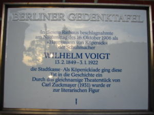 A commemorative memorial plate for Wilhelm Voi...