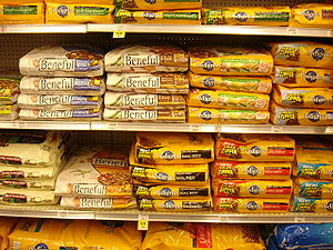 Shelves of dog food. Includes Beneful and Pedigree