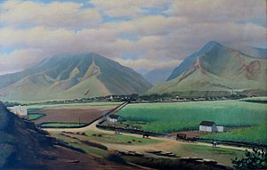 A painting of Wailuku and the Iao Valley, Maui...