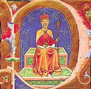 Miniature of Geza, father of St. Istvan