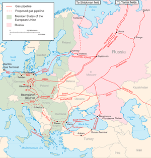 English: Map of the major existing and propose...