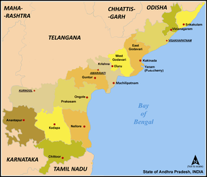 Map of Andhra Pradesh showing location of Anan...