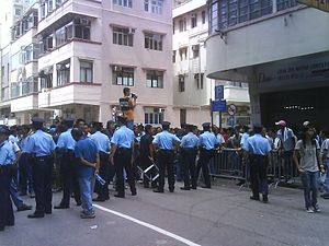 Metal workers' protest in Hong Kong.