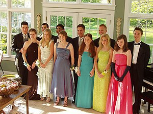 A typical gathering, with boys in tuxedos, and...