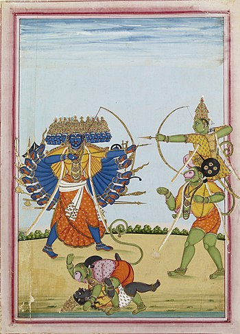 English: Rama and Hanuman fighting Ravana, an ...