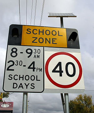Solar powered School Zone flashing light warni...