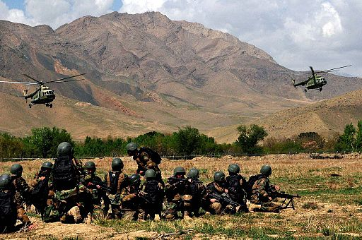 Afghan commandos and helicopters
