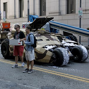 The Tumbler on the set of The Dark Knight Rises.