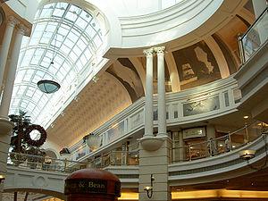 Atrium-like glass ceilings provide natural lig...