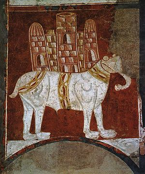 A Romanesque painting of a war elephant. Spain...