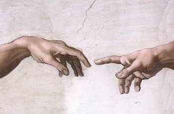 The iconic image of the Hand of God giving lif...