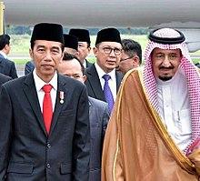 King Salman and Indonesian President Joko Widodo in Jakarta, 1 March 2017