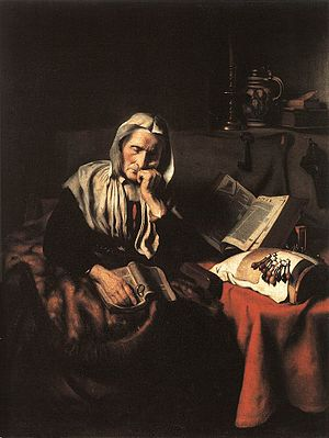 Old Woman Dozing by Nicolaes Maes (1656), Oil ...