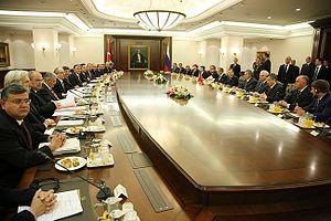 English: Turkish president Abdullah Gül and Ru...