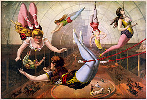 Trapeze artists in circus, lithograph by Calve...
