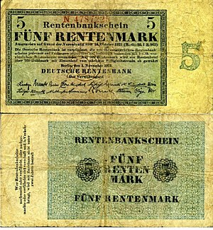 English: 5 Rentenmark from 1923-11-1 equivalen...
