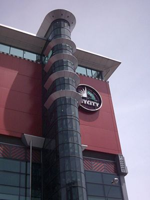 The building and logo of SKYCITY Auckland, Auc...