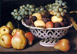 Maiolica Basket of Fruit