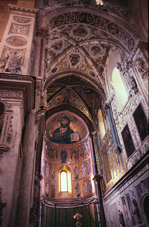 Cefalu, Sicily, apsis & choir of Norman cathed...