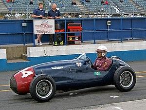 A Cooper Bristol Mk1 enters the pit lane durin...