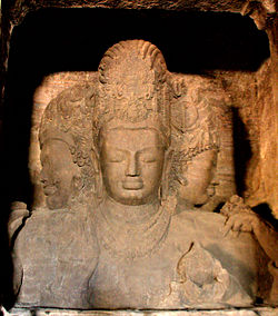 Trimurti sculpture from Elephanta Caves, an UNESCO World Heritage Site in Maharashtra