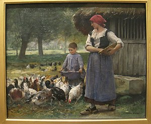 Farm Girl Feeding Chickens by Julien Dupre (18...