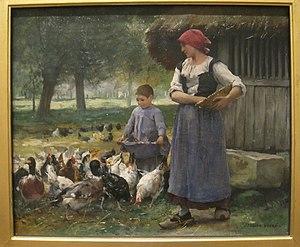 Farm Girl Feeding Chickens by Julien Dupre (18...