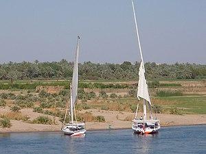 English: Feluccas near Kom Ombo, Egypt Françai...