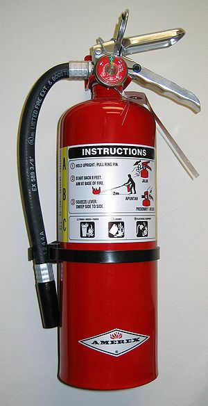 A stored-pressure fire extinguisher