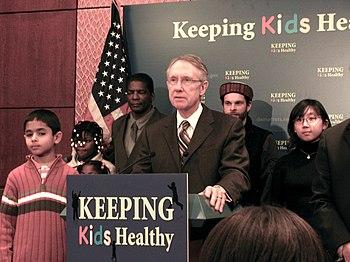 English: Harry Reid speaking at the State Children Health Insurance Program (SCHIP) Art Exhibit Press Conference