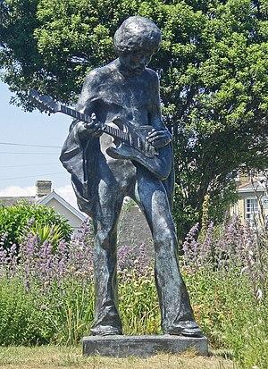 A statue of Jimi Hendrix outside Dimbola Lodge...