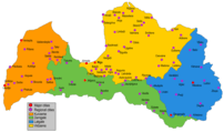 Map of Latvia showing regions and cities