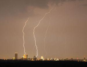 Lightning strikes over downtown Tulsa, Oklahoma.